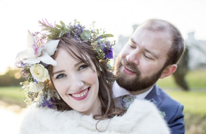 Louise & Davey's cosy winter wedding at Bellingham Castle