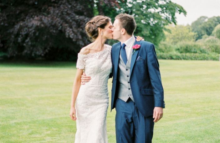 Claire and Aidan's elegant, pretty pastel wedding at Farnham Estate