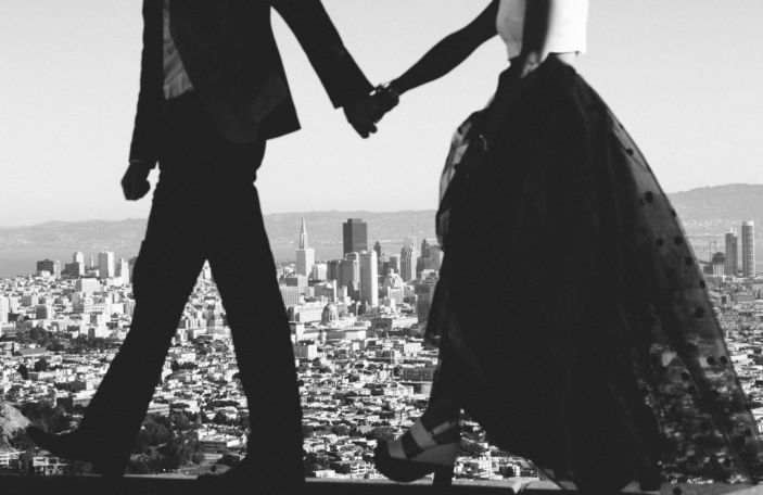 Emma and Bubba's stylish AirBnb rooftop wedding shot by Jenn Emerling