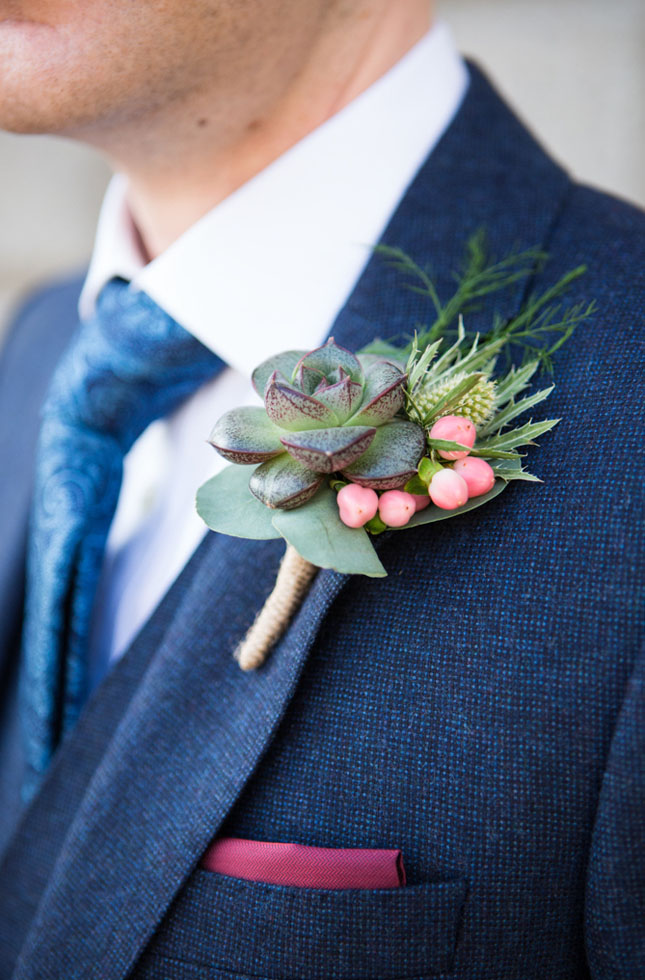 Ginkgo Florists Wedding Buttonhole Succulent.JPG
