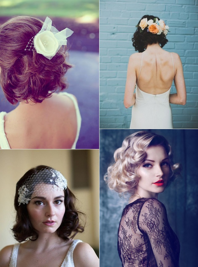 Curly hairstyles for brides with short hair
