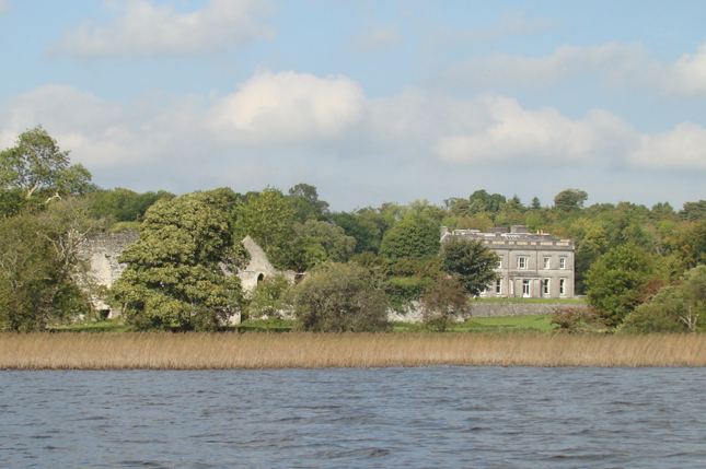 Temple House from Templehouse Lake with Templehouse Castle in foreground. Knights Templar building 1200 is on the left.