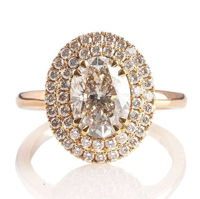 top_light_brown_Diamond_Double_halo_engagement_ring_dublin_galway_mayo_ireland