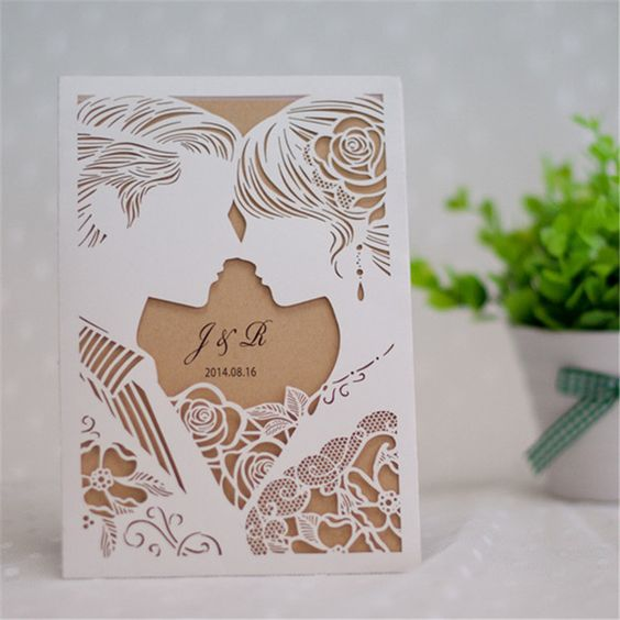 laser cut invite wedding