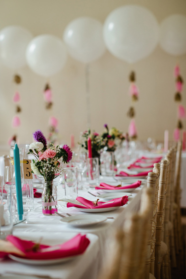 Killyon Manor wedding festival wedding colourful ribbon backdrop