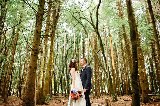 Killyon Manor wedding festival wedding colourful ribbon backdrop