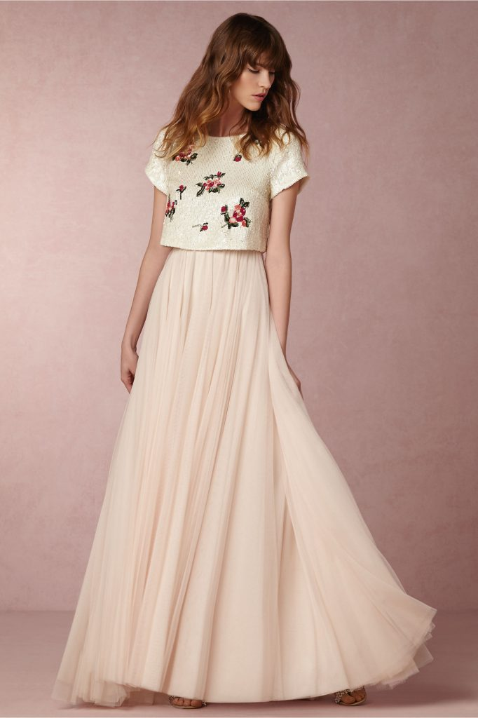 Non bridal wedding dresses for alternative brides confetti image above tulley top and amora skirt from bhldn non bridal junglespirit Choice Image