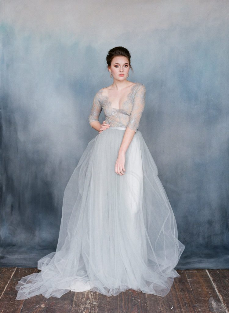 Grey wedding dresses for the adventurous bride for Light blue wedding dress meaning