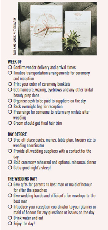 Your QuickFire WeekOf Wedding Checklist To Download And Tick Off