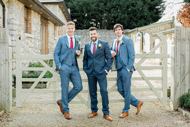 61039549a5efef Groom's navy 3 piece tweed suit, €799, shirt, €75, tie, €35, Magee; pocket  square, €29, Mr Jenks; shoes, €110, Barbour; Groomsmen's fine wool check 3  piece ...
