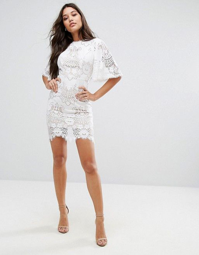 f23eeb2a87e Summer is  supposedly  coming and what better way to show off your bridal  glow than wearing white  We adore this lace midi dress. Just look at that  detail!