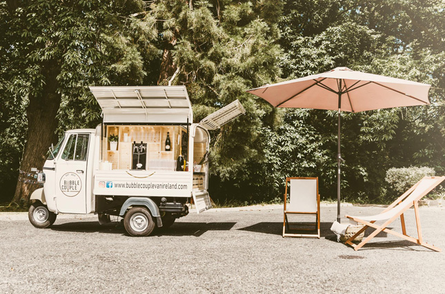 Wedding Prosecco van by Irish wedding suppliers The Bubble Couple