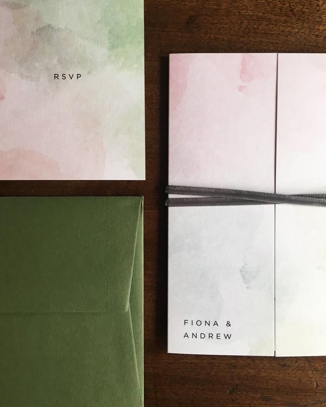 Minimalist watercolour wedding invitations by Keady Row