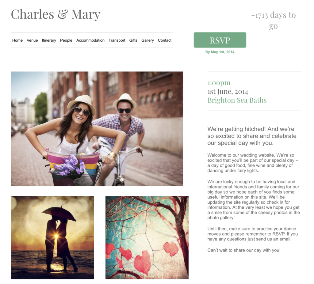wedding website builder luv birds