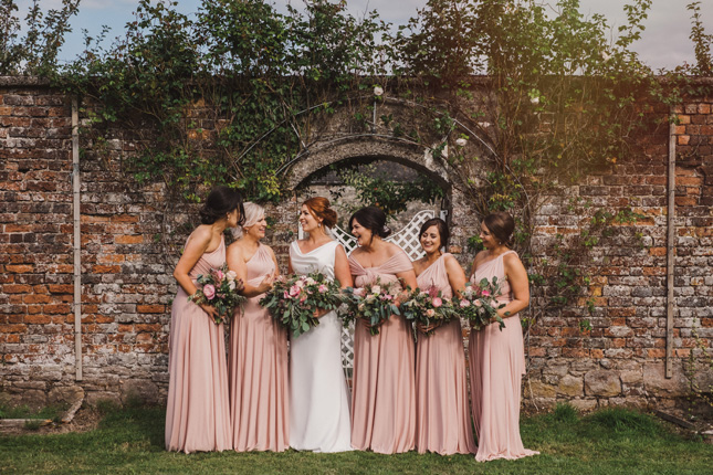 blush pink bridesmaids dresses Irish summer wedding