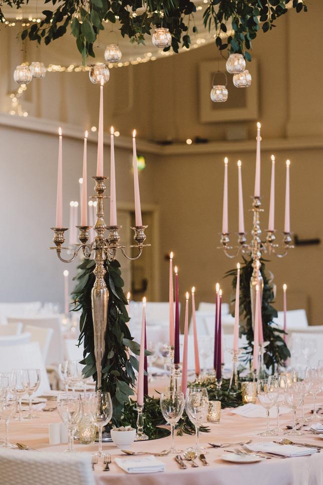 blush pink wedding table setting