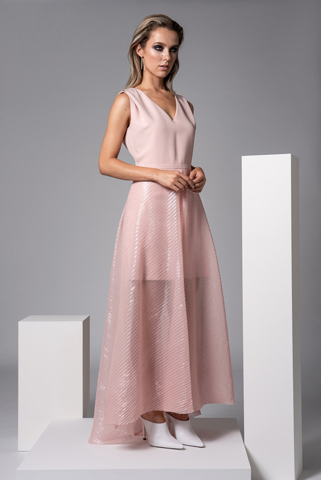wedding guest dresses Caroline Kilkenny Sister Scott Pink Dress