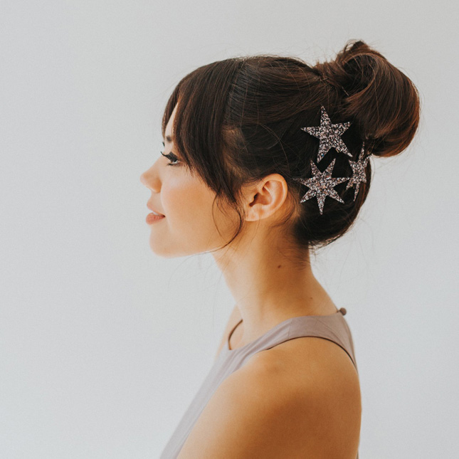Glitter star hair clips from Crown and Glory