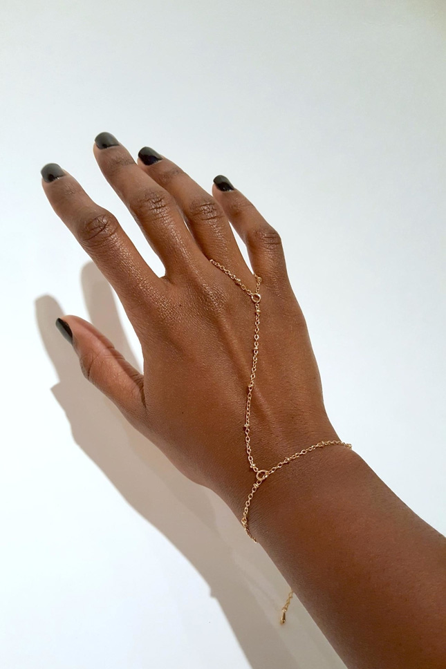 gold hand chain wedding accessories