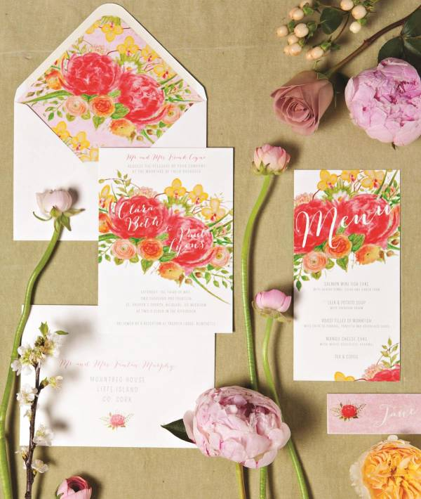 Floral wedding stationery by Appleberry Press formerly pretty as a picture