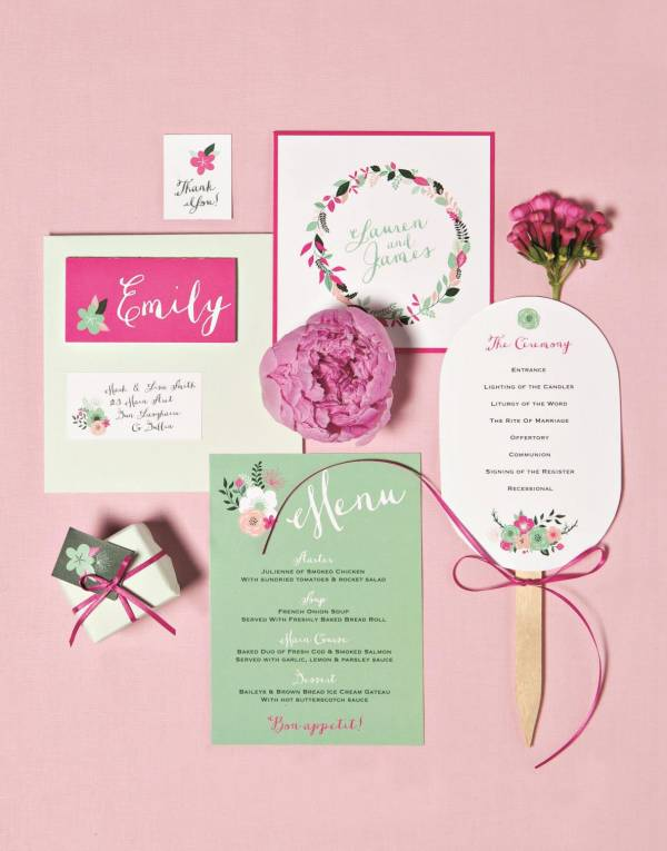 Pretty pink vintage style wedding stationery and florals