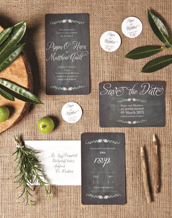 Rustic chalkboard wedding stationery by dusty boy design